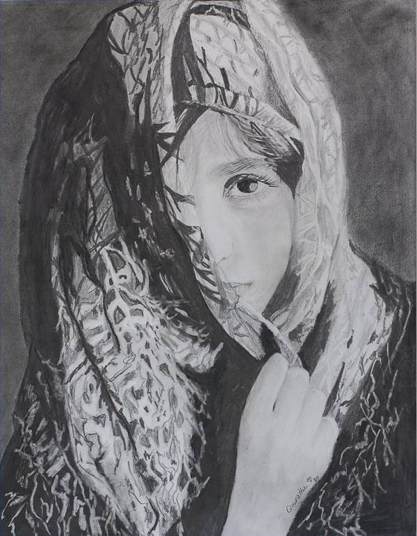 Graphite Art Print featuring the drawing Behind The Veil by Quwatha Valentine