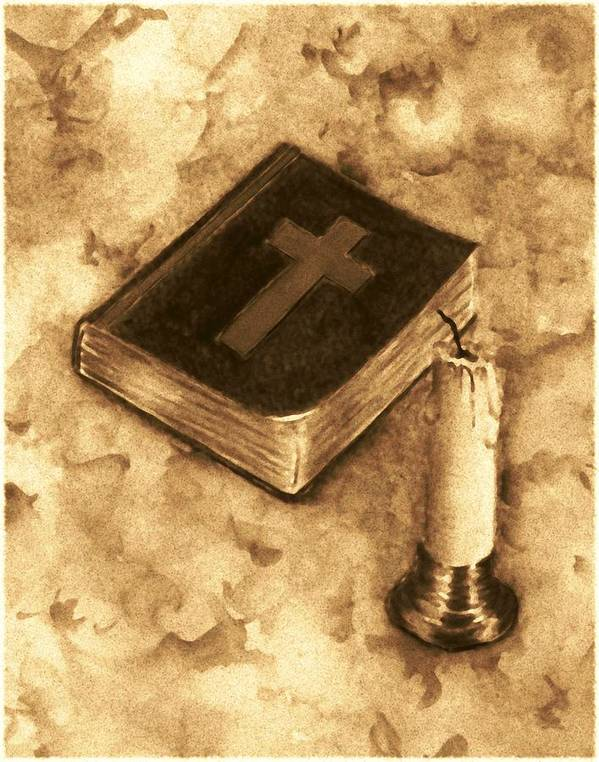 Bible Art Print featuring the painting Bible And Candle by Michael Vigliotti
