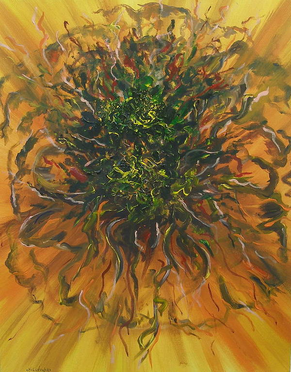 Abstract Art Print featuring the painting Blooming Flowers by Miroslaw Chelchowski