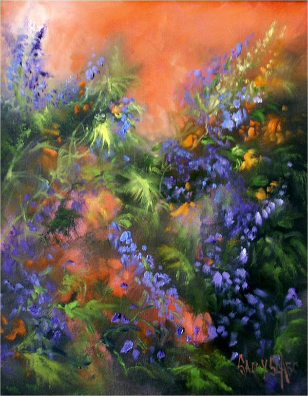 Flowers Art Print featuring the painting Blue Belle Sunset by Sally Seago