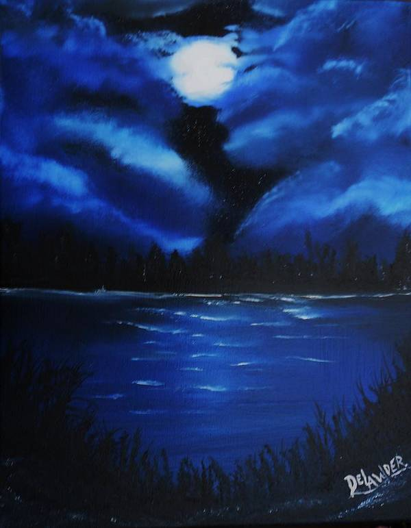 Landscape Moon Blue Oil Canvas Water Clouds Original Art Print featuring the mixed media Blue Moon 2 by Mary DeLawder