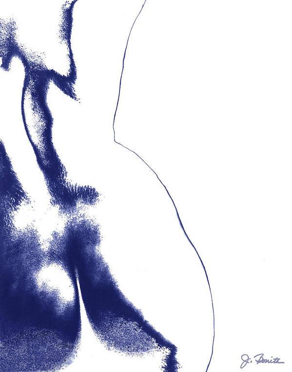 Female Nude Art Print featuring the digital art Blue Nude No. 2 by Joe Bonita