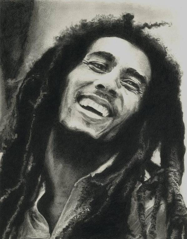 Drawing Print featuring the drawing Bob Marley by Dan Lamperd