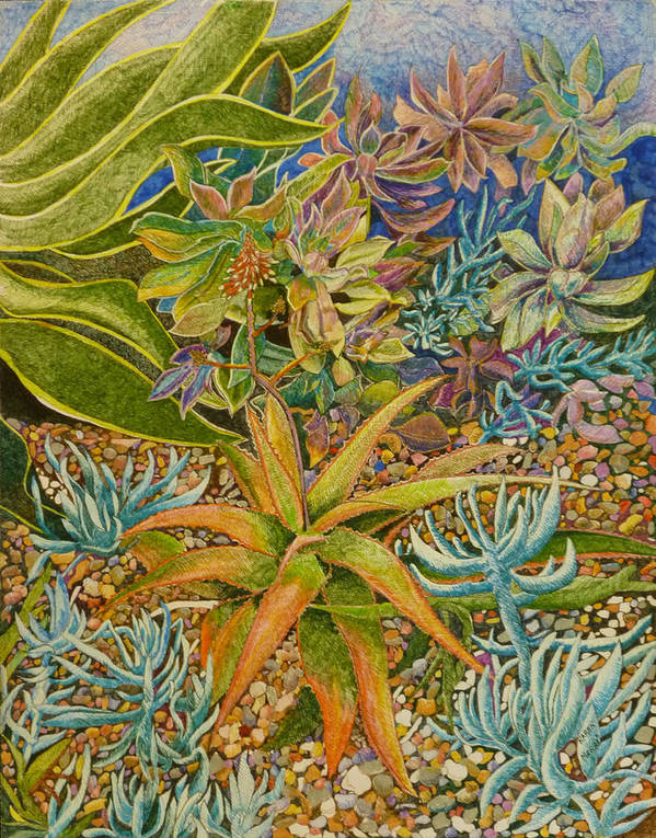 Cactus Art Print featuring the painting Brilliant Succulents by Karen Merry