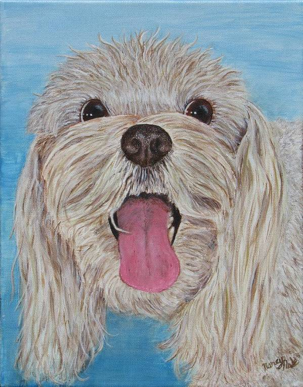 Dog Art Print featuring the painting Buster by Nancy Nale