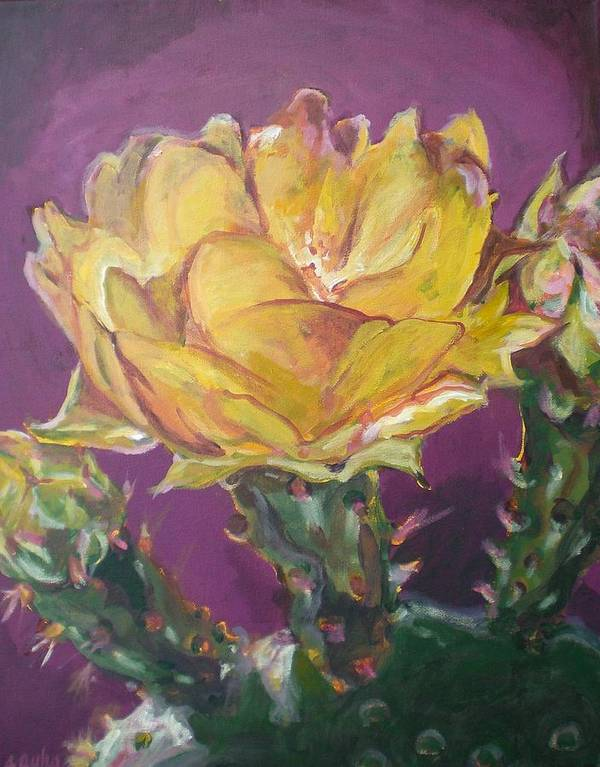 Cactus Art Print featuring the painting Cactus Blossom On Purple Background by Aleksandra Buha