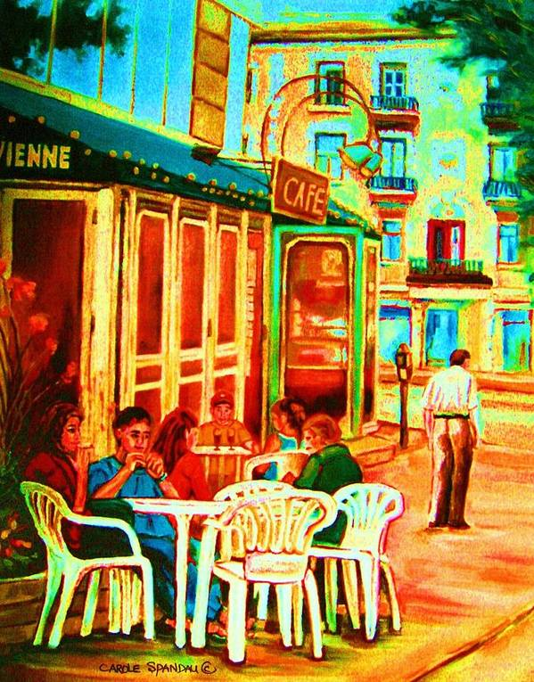 Cafes Art Print featuring the painting Cafe Vienne by Carole Spandau