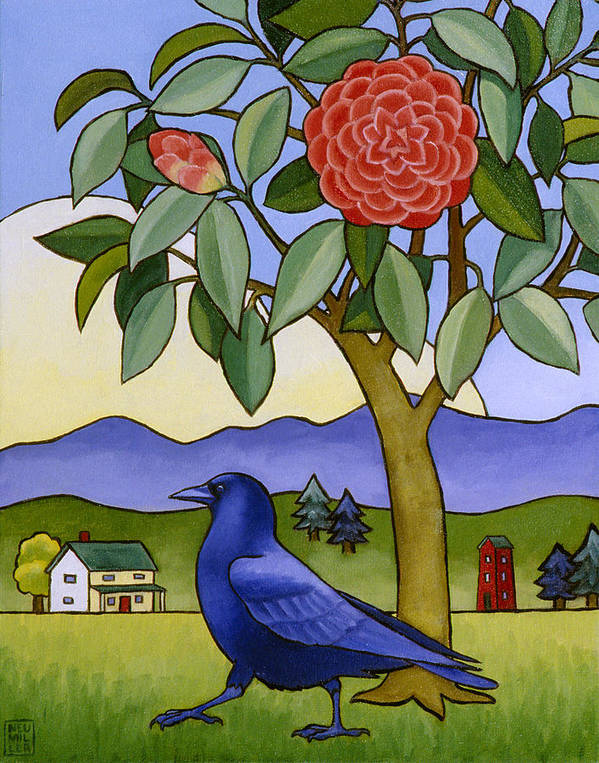 Crow Print featuring the painting Camellia And Crow by Stacey Neumiller
