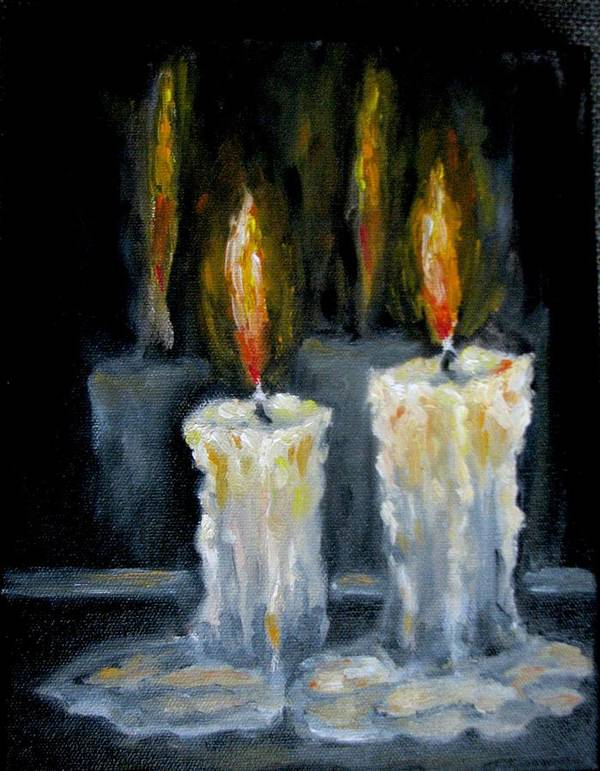 Candles Art Print featuring the painting Candles Oil Painting by Natalja Picugina