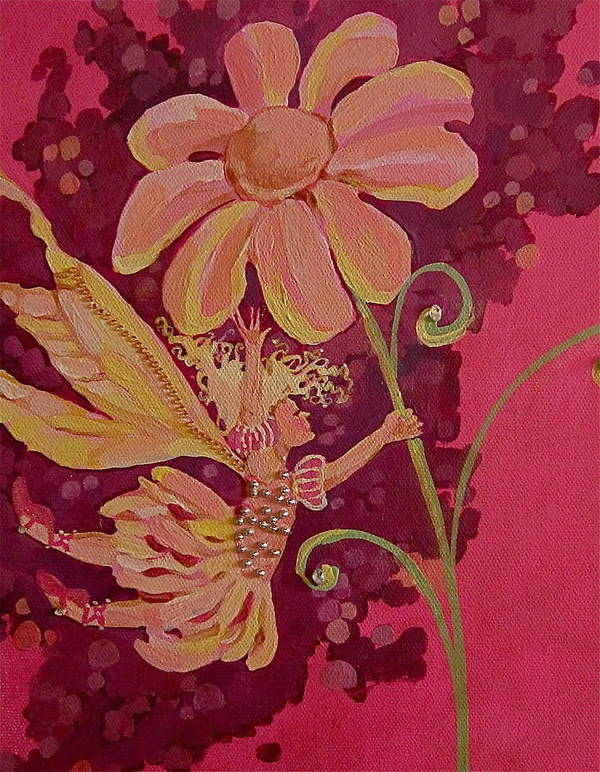 Flower Pink Fairy Child Art Print featuring the drawing Candy 2 by Jackie Rock