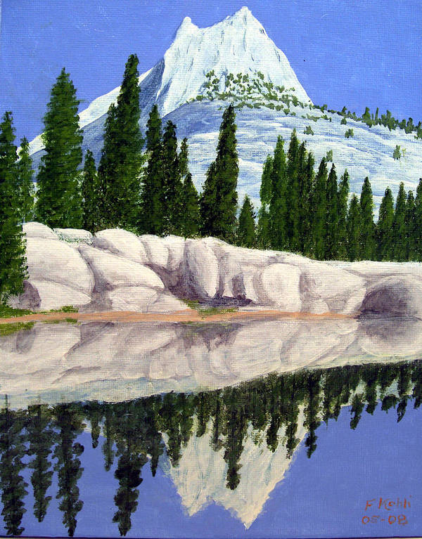 Landscape Paintings Art Print featuring the painting Cathedral Peak by Frederic Kohli