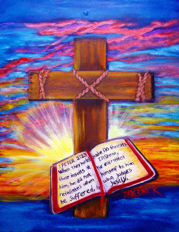 Cross Art Print featuring the painting Chads Cross by Darlene Green