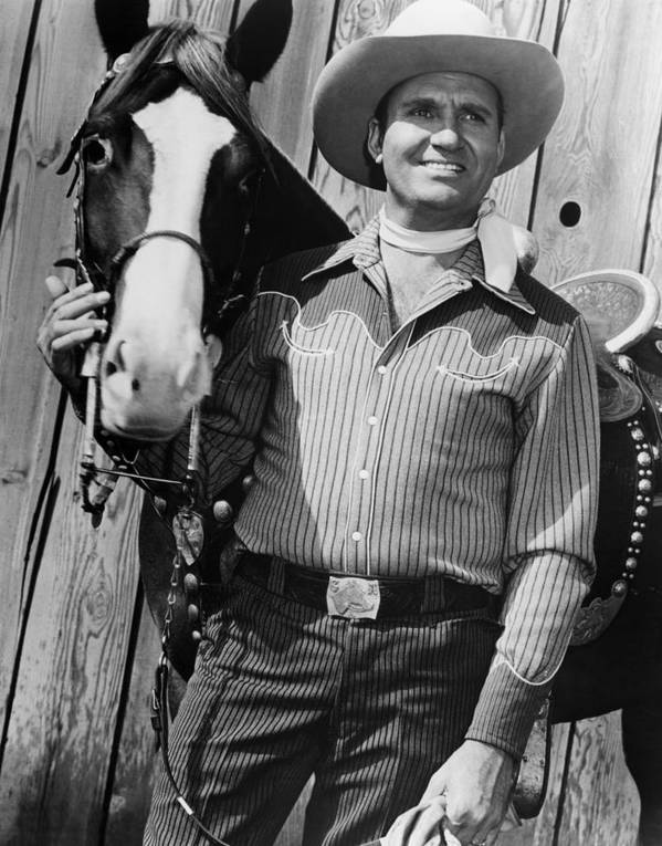 1950s Movies Art Print featuring the photograph Champion And Gene Autry by Everett