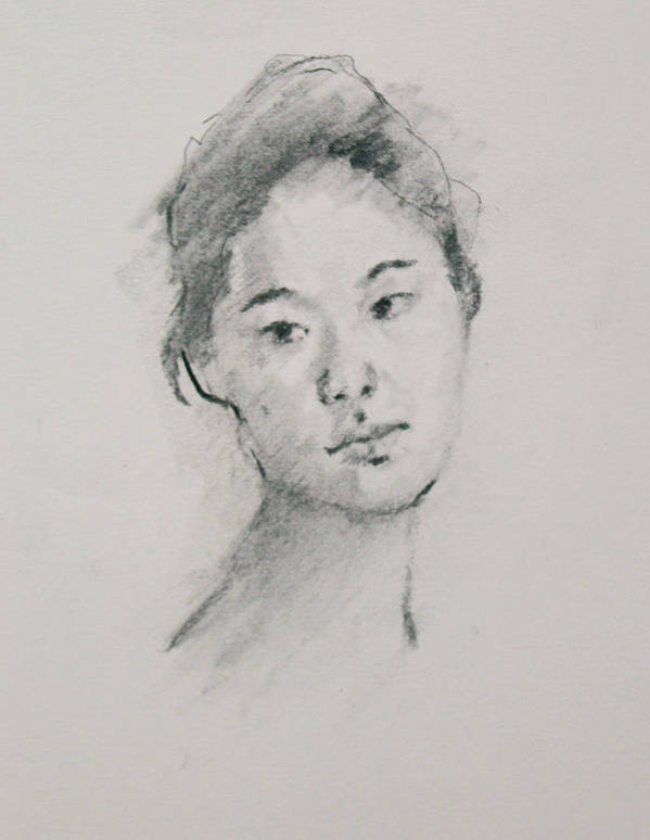 Charcoal Drawing Art Print featuring the painting Charcoal Series 3      by Becky Kim