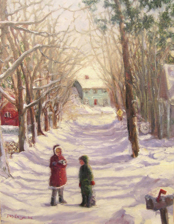 Snowy Road Art Print featuring the painting Chase Road Winter by Donna Lange