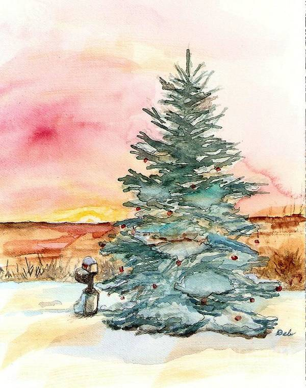 Art Print featuring the painting Christmas Sunrise by Deb Stroh Larson