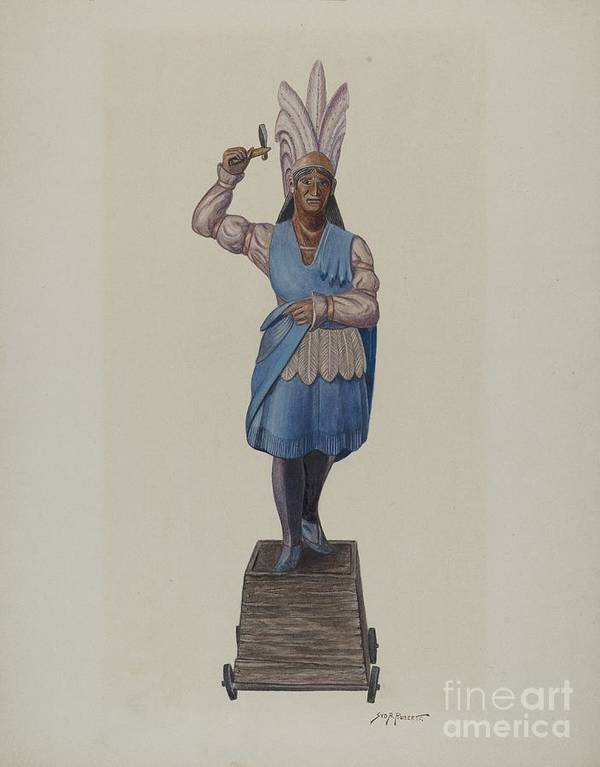 Art Print featuring the drawing Cigar Store Indian by Sydney Roberts