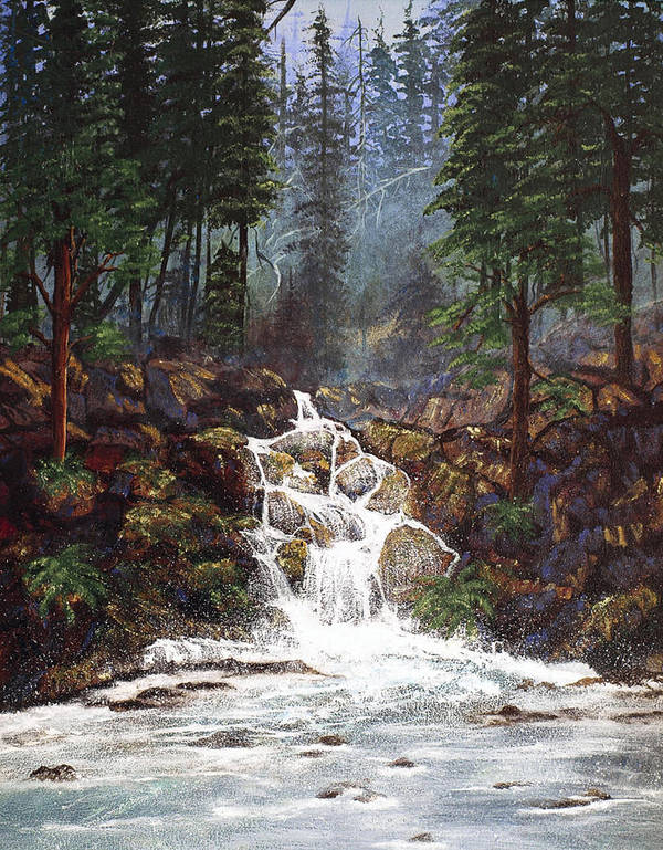 Waterfall Art Print featuring the painting Clearwater Falls by Diane Schuster