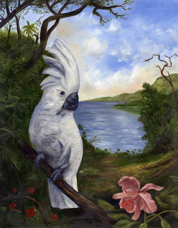 Landscape Art Print featuring the painting Cockatoo And Orchid by Anne Kushnick