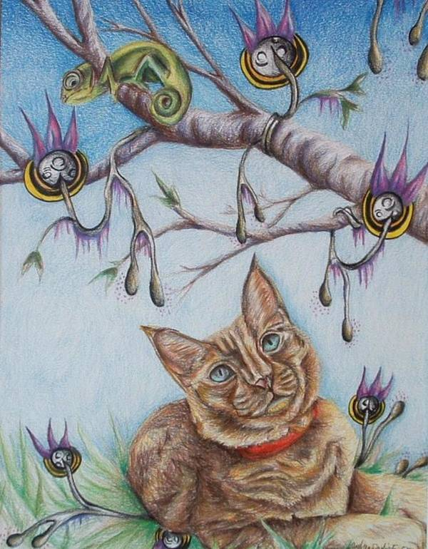 Cat Art Print featuring the drawing Coexistance by Andrea Darlington