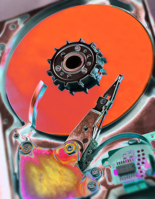 Machine Art Print featuring the photograph Computer Hard Disc by Mark Sykes