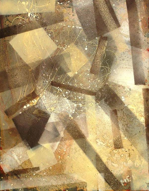 Abstract Art Print featuring the painting Construction In Brown by Evguenia Men