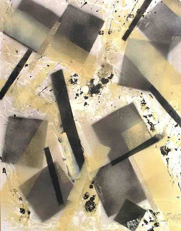Abstract Art Print featuring the painting Construction In Cream by Evguenia Men