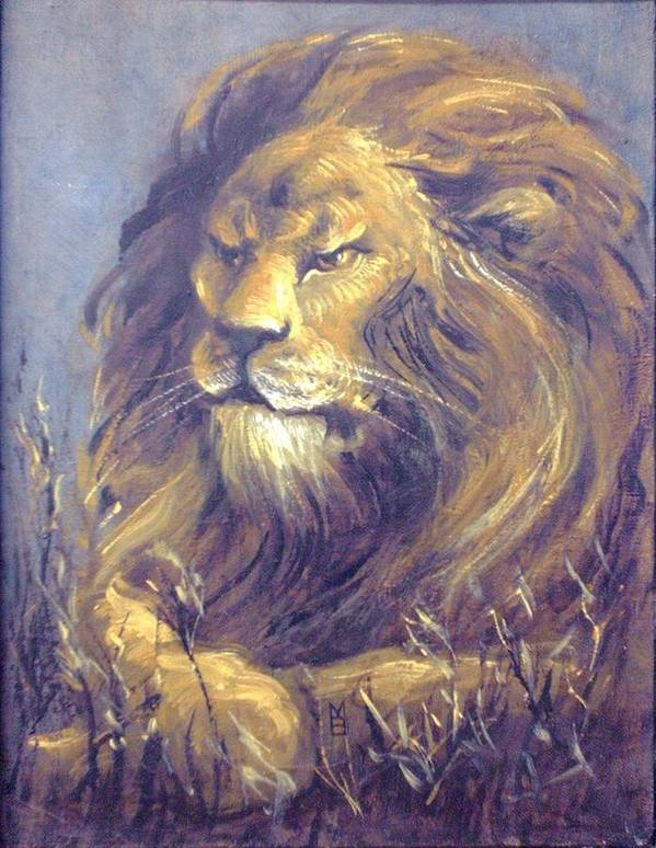 Lion Art Print featuring the painting Contemplation by Mara Buck