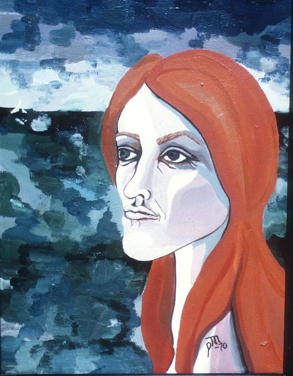Portrait Art Print featuring the painting Contemplation Of Serenity by Pamela Maloney