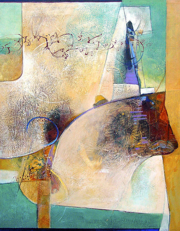 Abstract Art Print featuring the painting Conversing With The Cat by Dale Witherow