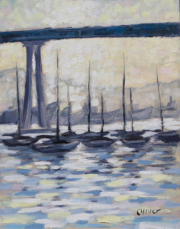Seascape Art Print featuring the painting Coronado Anchorage by Ronald Lee Oliver