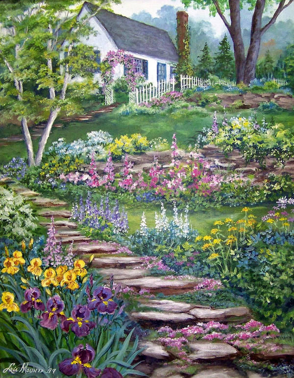 Landscape;cottage;white House;picket Fence;birch Tree;gardens;iris;stone Walk;rock Path;archway; Art Print featuring the painting Cottage On The Hilltop by Lois Mountz
