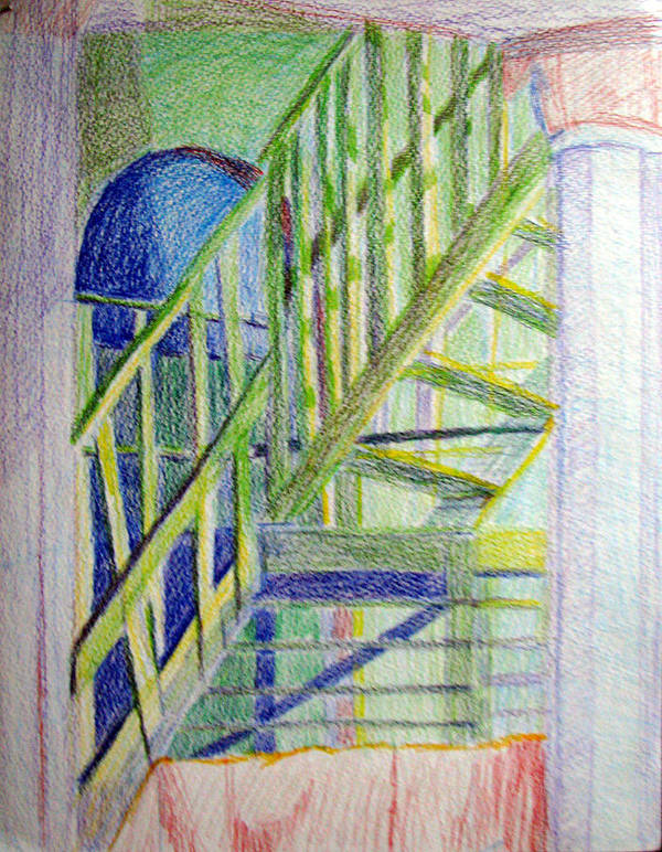 Steps Art Print featuring the drawing Crazy Steps by Art Nomad Sandra Hansen