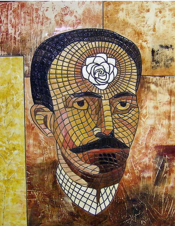 Cultivo Una Rosa Blanca.. Homage To Jose Marti. Art Print featuring the painting Cultivo Una Rosa Blanca by Victor Madero