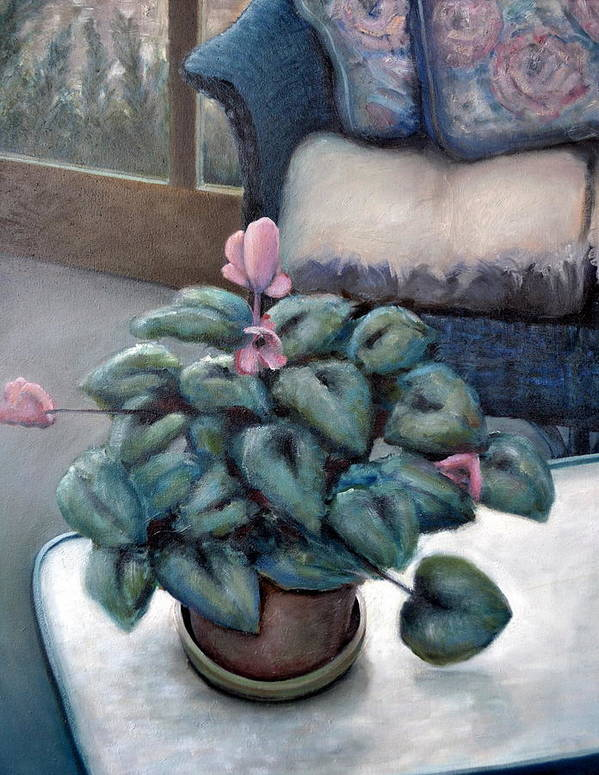 Cyclamen Art Print featuring the painting Cyclamen And Wicker by Michelle Calkins