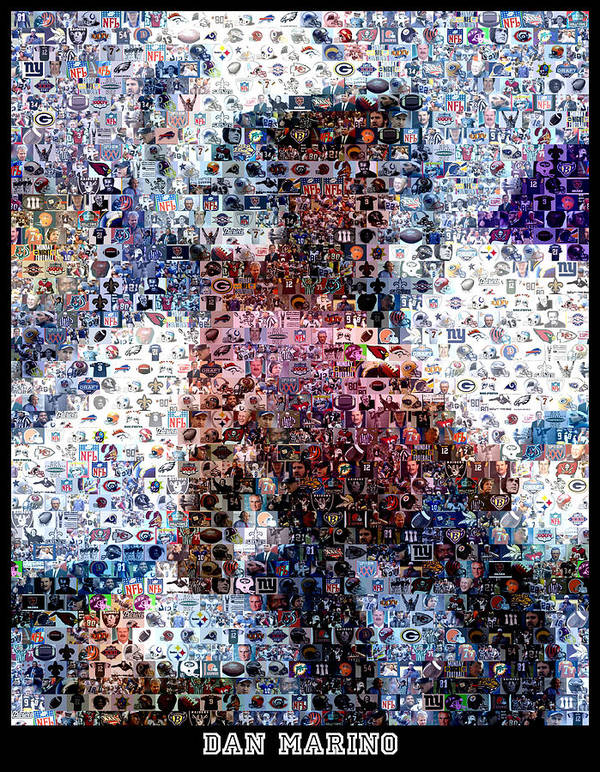 Dan Marino Art Print featuring the digital art Dan Marino Mosaic by Paul Van Scott