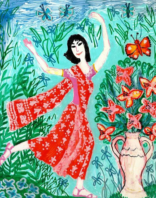 Sue Burgess Art Print featuring the painting Dancer In Red Sari by Sushila Burgess