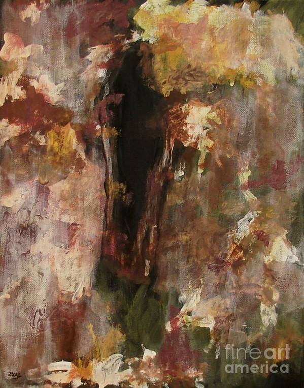 Abstract Art Print featuring the painting Dark Presence by Itaya Lightbourne