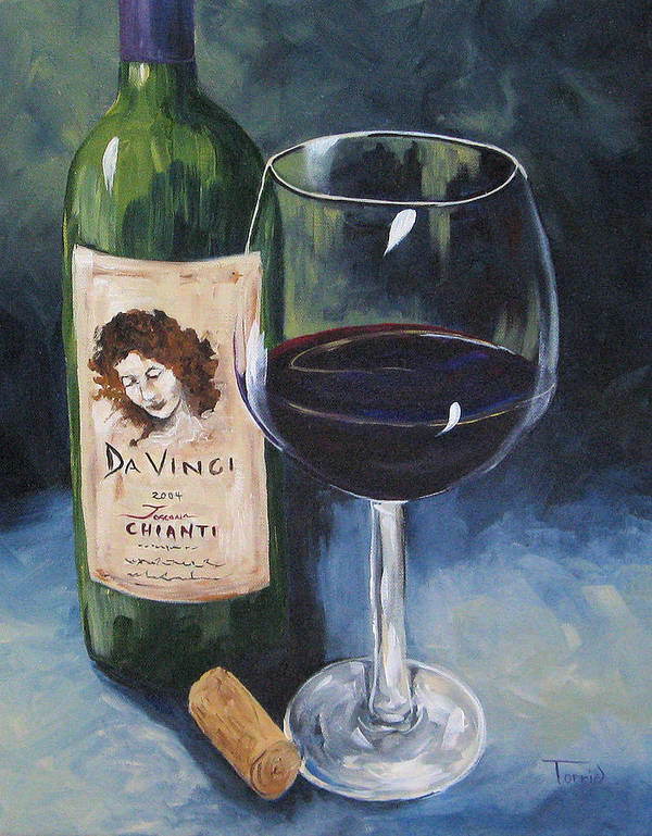 Wine Art Print featuring the painting Davinci Chianti For One  by Torrie Smiley