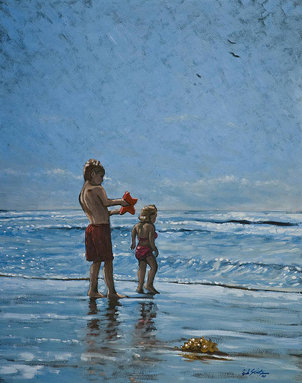 Art Art Print featuring the painting Day At The Beach by Erik Schutzman