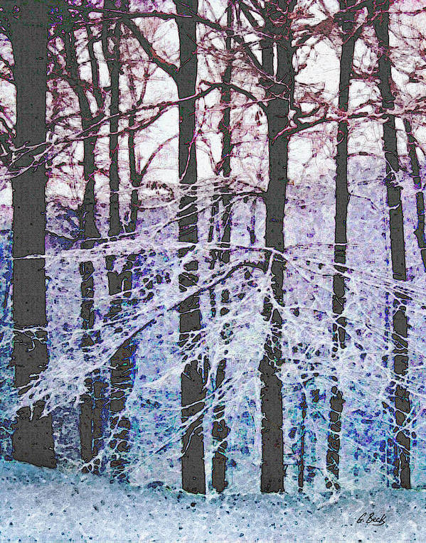 Snow Snowy Forest Textured Impressionistic Gordon Beck Art Art Print featuring the mixed media Deep Freeze by Gordon Beck