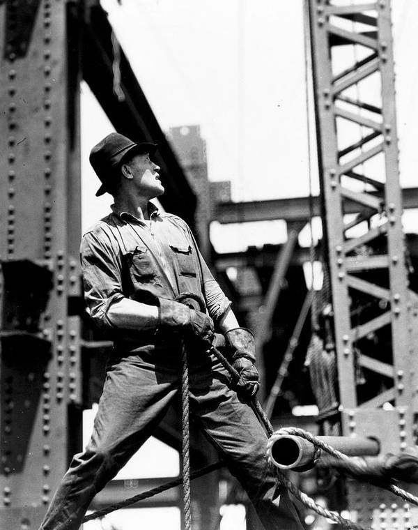Black And White Photograph; B/w Photo; Photography; Architecture; Exterior; Facade; Male; Construction; Building; Work; Worker; Workers; Labour; Labourer; Labourers; Builder; Builders; 1930s; 30s; Thirties; Strength; Achievement; Skyscraper; High-rise; Teamwork; Girder; Girders; Scale; Strong; Strength; Challenge; Derrick; Man; Portrait; Empire State Building; Achievement; Challenge; Landmark; Us; Usa; History; Historical; America; American; United States; Overalls; Gloves; Rope; Ropes Art Print featuring the painting Derrick Man  Empire State Building by LW Hine