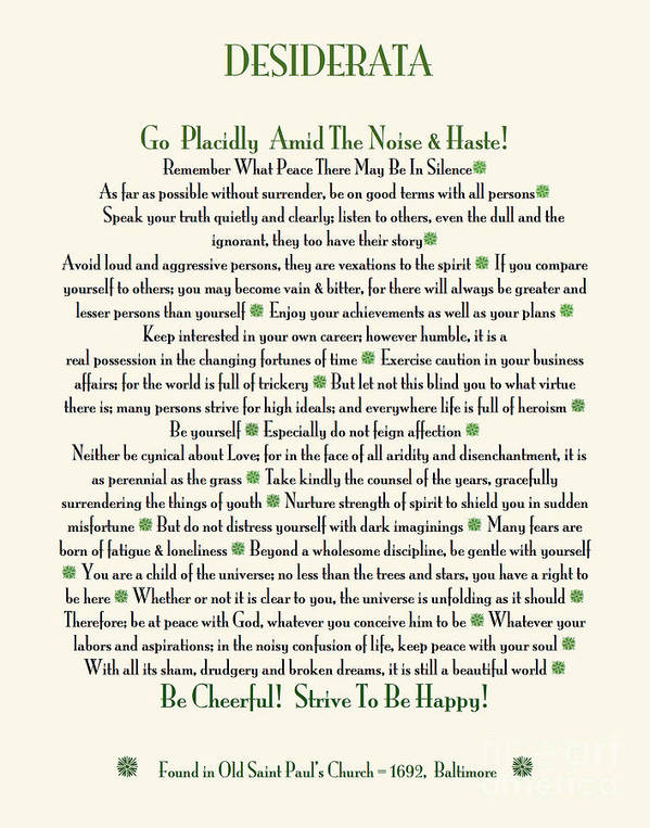 graphic about The Desiderata Poem Printable identified as Desiderata Poem By way of Max Ehrmann Artwork Print