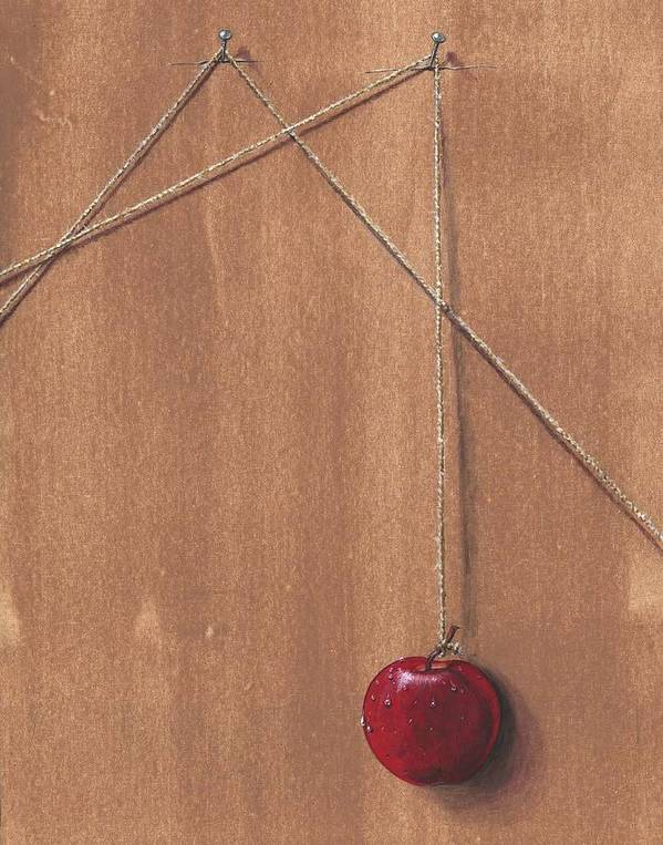 Apple Art Print featuring the painting Detail Of Balanced Temptation. by Roger Calle