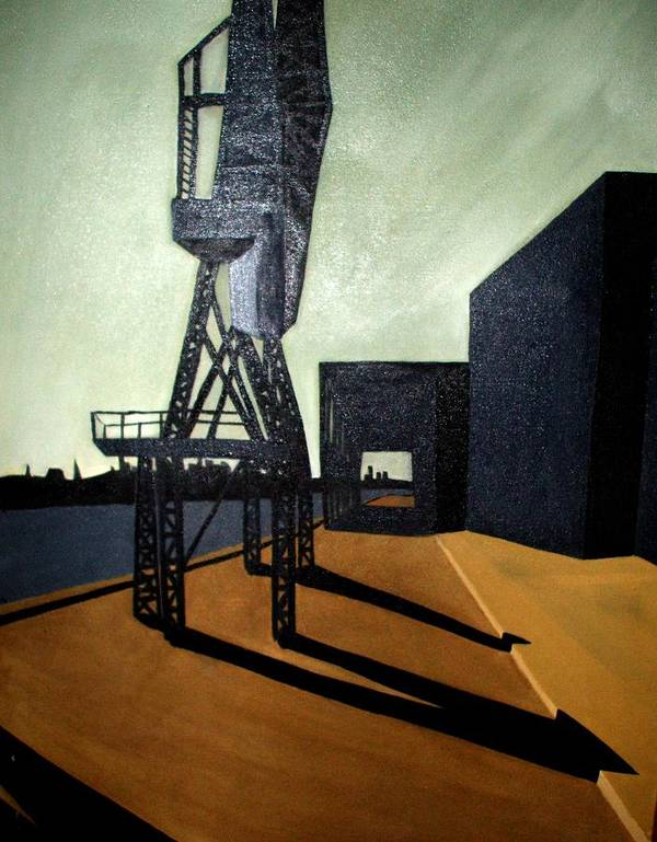 Docklands Crane Waterfront Shadows Art Print featuring the painting Dockland Shadows by Bethwyn Mills