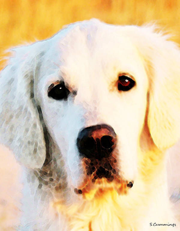 Golden Retriever Art Print featuring the painting Dog Art - Golden Moments by Sharon Cummings