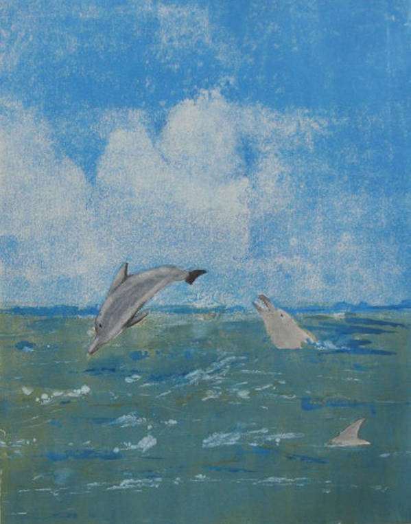 Dolphin Art Print featuring the painting Dolphin Frolic by Libby Cagle