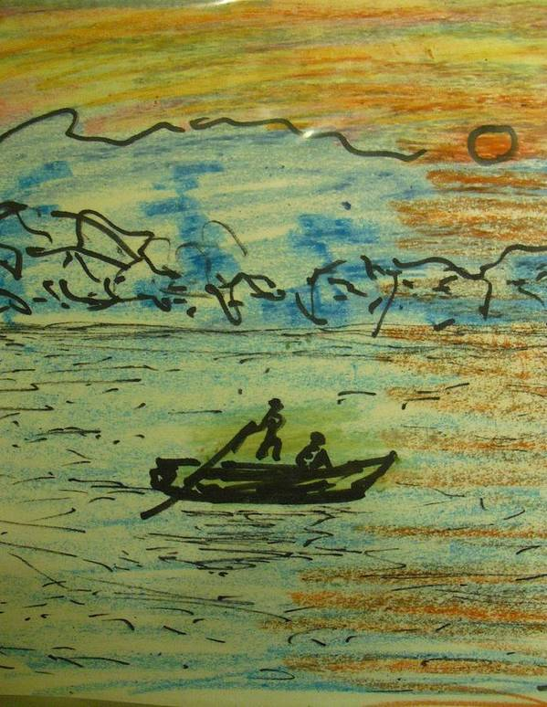 Boat River Landscape Art Print featuring the drawing Dont Go Cross Yet by Troix Johnson