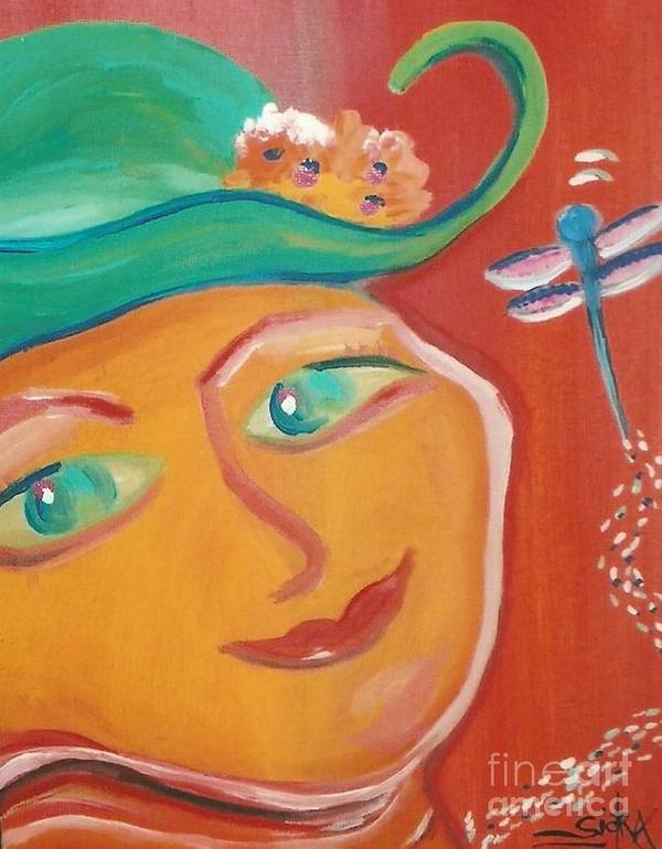 Mural Art Print featuring the painting Dragonfly Lady At Tea House by Sidra Myers