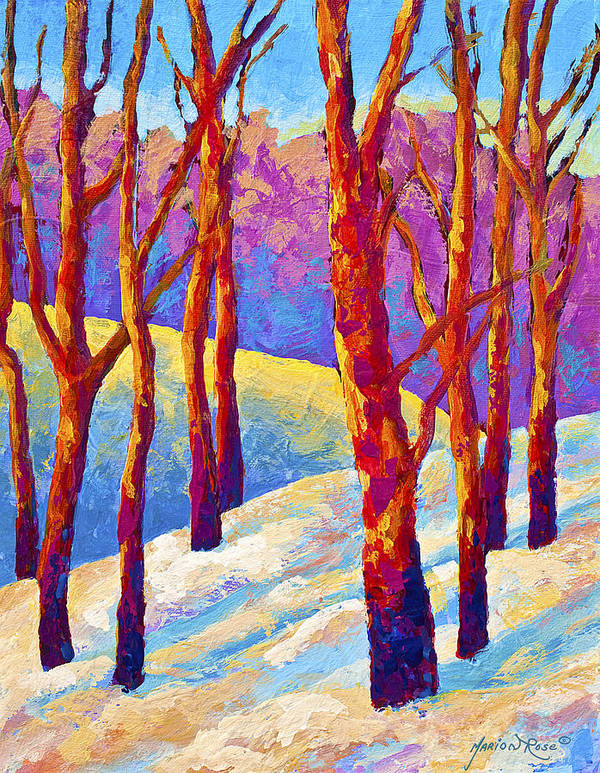 Trees Art Print featuring the painting Dusk's Veil by Marion Rose